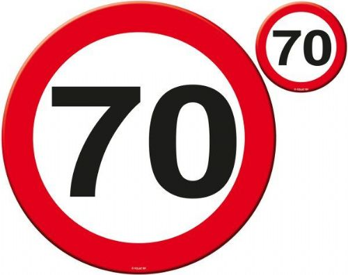 Traffic Sign 70th Party Place Mat & Coasters Birthday Disposable Tableware table